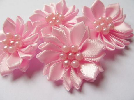 5 X 1.5 INCH SATIN PINK RIBBON FLOWER EMBELLISHMENT PERFECT HEADBANDS SOCKS HAIR BOWS